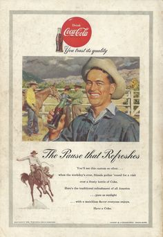 Cowboy Theme Coca Cola Original 1953 Vintage Ad W Color Illustration Of Horsemen On A Western Ranch