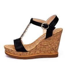Women's thick crust Wedges sandals Black * Click image to review more details.