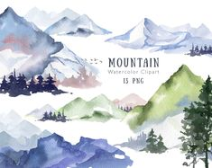 1 Clipart, Tree Clipart, Watercolor Trees, Watercolor Landscape, Watercolour Mountains, Watercolor Logo, Watercolor Background, Watercolor Paintings, Autumn Forest