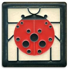 4x4 Ladybug with Border - White from Motawi Tileworks / Charley Harper designs