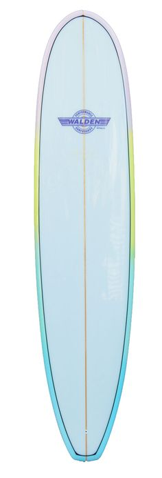 8'0 Magic Model 23070 – Walden Surfboards custom pastel rainbow fade on the bottom and rails with a clear deck.