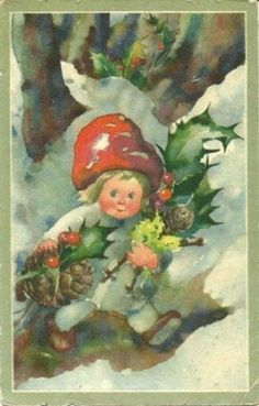 Mili Weber Little Toadstool girl collecting holly