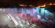 Winter night lights at Niagara Falls