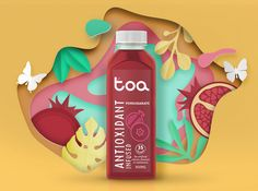 Branding & Packaging design for TOA the new Australian brand which creates healthy antioxidant fruit beverages Juice Packaging, Craft Packaging, Beverage Packaging, Bottle Packaging, Packaging Design, Ad Design, Label Design, Juice Bar Design, Smoothie Bar