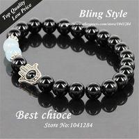 Handmade 6mm Agate Beads Multi Charms Bracelet Fatima Hand Evil Eye Charm Hamsa Bracelet