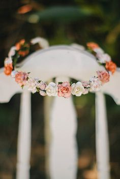 Peach Flower Crown rustic wedding Bohemian