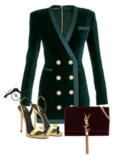 """A Night Out"" by spivey-adrian ❤ liked on Polyvore featuring Balmain and Yves Saint Laurent"