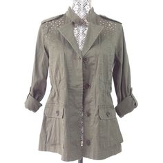 Style&Co Womens Military Jacket Size XS Green Olive Rhinestone Cotton Blend #Styleco #Military