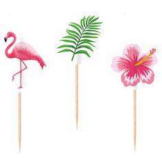 Tropical cupcake toppers - Pink flamingo picks - Tropical party decor - Green tropical leaves - Party decorations - Cake pack by LittleOrchardCraft on Etsy Flamingo Party, Flamingo Print, Pink Flamingos, Hawaiian Games, Hawaiian Decor, Hawaiian Luau, Hippie Party, Aloha Party, Hula