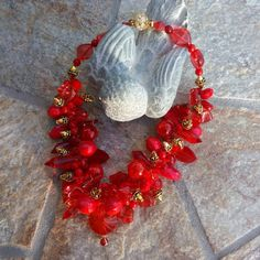 Please Pin if you like this new design!   Add this Beauty to your Spring LOOK!   Check out my 20% OFF Sale!!!! Use Code: 20OFF  Red Statement Necklace, Bold Chunky Necklace,Statement Collar, Bib Necklace, Gift for Her #bestbeadedbling