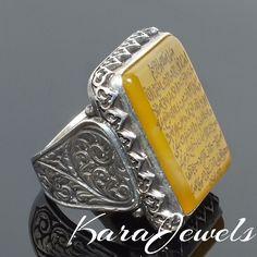 Ayat al-Kursi engraved Yellow Agate Aqeeq Islamic men ring 925 Sterling Silver #KaraJewels #Islamic
