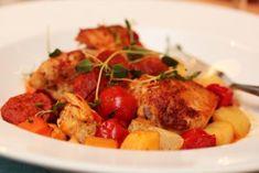Chilikylling med rotgrønnsaker Chorizo, Kung Pao Chicken, Potato Salad, Potatoes, Meat, Ethnic Recipes, Food, Drinks, Drinking
