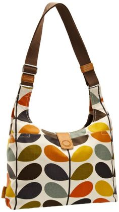 "Price: 	$169.99 | Orla Kiely Ml Nautical Multi Stem Print Midi Sling #Bag (Multi) | 15"" shoulder drop, 10.5"" high, 4.25"" wide, Matt laminate midi sling bag with grey large linear stem cotton twill lining, With large slit pocket to front, Inside details include zip and mobile pockets and key chain, Magnet closure, Webbing tape handles reinforced with stamped natural vegetable tan leather,"