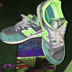 Size 3 Kids 996 New Balance Teal, lime green, dark grey, New Balance Shoes Sneakers
