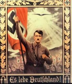 """Long live Germany!""  This poster makes a direct Christological comparison of Hitler. Just as a dove descended on Christ when he was baptised by John the Baptist, so what looks to be an eagle hovers against the light of heaven over an idealized Hitler."