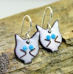 Cat Earrings  black or white glass enamel by KathrynRiechert