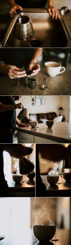 Brand Photography for www.hoosierhospitalitea.com // Caitlin Tyner Photography // Fishers, Indiana Lifestyle Photographer #tea #hot #beverage #blog #blogging #silhouettes #mug #steam #mood #branding #kettle #pour #steep #looseleaf #details