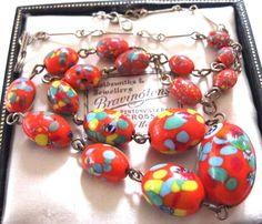 VINTAGE ANTIQUE RED Millefiori Venetian Italian Glass Bead Jewellery NECKLACE  | eBay £51.00 (14B) +2.95PP