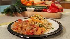 Sweet and sour pork with vegetable ribbon noodles