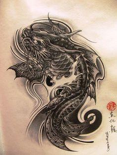 Koi Dragon Tattoo, Dragon Koi Tattoo Design, Dragon Koi Fish, Carp Tattoo, Kio Fish Tattoo, Japanese Koi Fish Tattoo, Japanese Dragon Tattoos, Japanese Tattoo Designs, Japanese Sleeve Tattoos