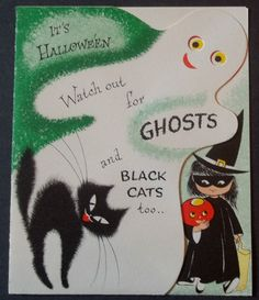 Halloween is coming. Take a look at these hilarious postcards to choose one for your Halloween. Halloween Eve, Retro Halloween, Halloween Prints, Halloween Signs, Holidays Halloween, Halloween Themes, Happy Halloween, Samhain Halloween, Halloween Labels
