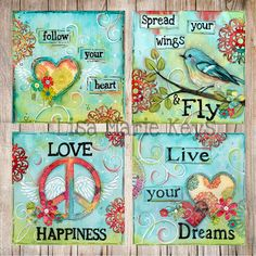 Art Print Bohemian Dream Print Set Peace Birds Boho Wall Art 12x12 Tween Art Teen Art Pre Teen Art Inspirational Art for Teens