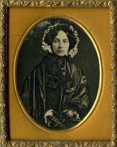 Lovely Lady in Fine Black Mourning Dress and White Flowered Bonnet Daguerreotype | eBay