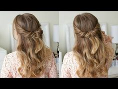 Looped Half Updo I've been wanting to post more half up styles since you guys are always requesting Down Curly Hairstyles, Half Updo Hairstyles, Super Easy Hairstyles, Hairstyles Videos, Hair Half Updo, Female Hairstyles, Easy Wedding Guest Hairstyles, Long Hair Wedding Styles, Missy Sue Hair