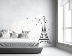 Items similar to Eiffel Tower Wall Decal Large Highly detailed add a Touch of Paris to your room with our Paris Decor 96 by 48 on Etsy Paris Wall Decor, Paris Wall Art, Wall Stickers Eiffel Tower, Paris Bridal Shower, Above Bed Decor, Wall Decor Design, Wall Decals, Flying Birds, Home Decor