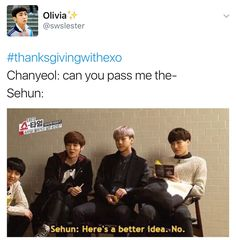 #thanksgivingwithexo it would have been better if Sehun said I'll pass it in 11 minutes!<<< YES