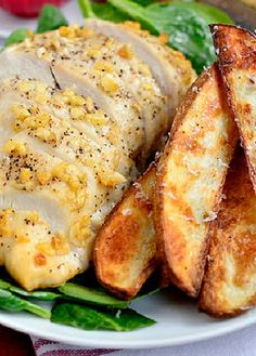 Low FODMAP Recipe and Gluten Free Recipe - Parmesan chicken bake with potatoes - http://www.ibs-health.com/parmesan_chicken_bake_potatoes.html