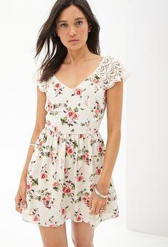 Crochet Floral Smock Dress   FOREVER21 - 2056085924