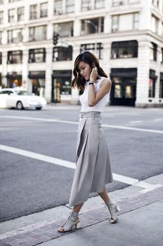 White crop top + gray skirt + Jeffrey Campbell shoes = monochrome classic
