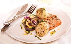 Epicure's Cedar-planked Mediterranean Salmon and Scallops (Copyright © Epicure Selections) Epicure Recipes, Mediterranean Salmon, Gluten Free Recipes, Healthy Recipes, Cedar Planks, Valentines Day Food, Tzatziki, Yummy Eats, Scallops