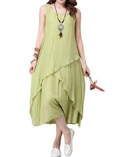 Mulheres mangas Vintage O Neck Pure Color Irregular vestido de algodão de linho - NewChic