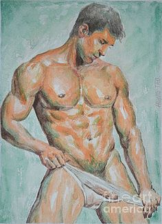Hongtao     Huang - original drawing watercolor painting man body art male nude on paper-066