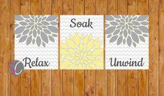 Floral Flower Burst Gray Yellow Set of 3 Wall Decor por scadesigns