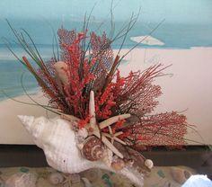 Seashell Driftwood Sea Fan CenterpieceCoastal by CeShoreTreasures
