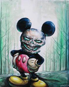 Mickey Mouse fine art PRINT Kryst oil canvas by PureClassArt Horror Cartoon, Zombie Cartoon, Horror Art, Disney Mickey, Mickey Mouse, Creepy, Scary, Monster Tattoo, Comics Toons