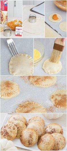 (link) PUMPKIN HAND PIES ~ Adorable mini pumpkin pies that are easy to make and addicting to eat! Top with yummy whipped cream and serve with ice cream. YUM!