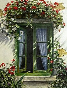 You don't see a window box ABOVE the window very often! But this Geranium Window Box is very pretty! Old Windows, Windows And Doors, Garden Windows, Balcony Garden, Window View, Window Art, Through The Window, Painting Gallery, Window Boxes