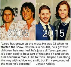 Jensen about Jared he sounds so much like his older brother sometimes it's hard to belive they're not