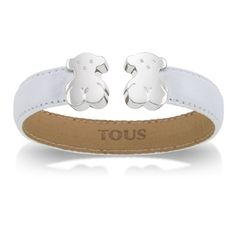 Leather TOUS Bear cuff with sterling silver bears