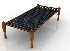 charpai, a four-legged bed made of wood with a woven net or rope mesh. It's for sitting in during the day and sleeping on at night.