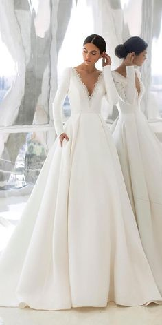 18 Of The Most Graceful Simple Wedding Dresses With Sleeves ❤ simple wedding dresses with sleeves princess plunging neckline pronovias ❤ Country Wedding Dresses, Black Wedding Dresses, Bridal Dresses, Simple Wedding Dress With Sleeves, Wedding Dress Sleeves, Dress Wedding, One Shoulder Wedding Dress, Dresses With Sleeves, Wedding Bride