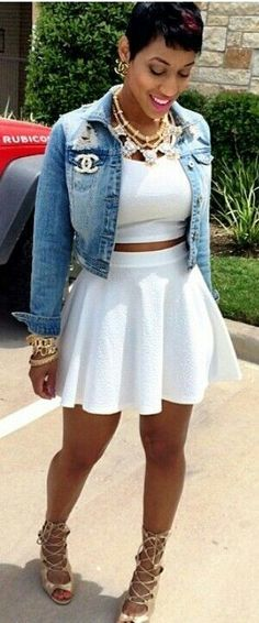 Street Style White Dress Blue Denim Jeans Jacket