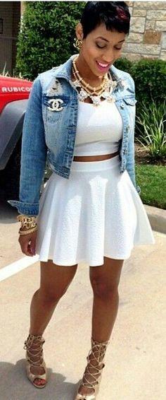 Street Style White Skater skirt and Blue Denim Jeans Jacket