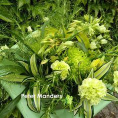 boeket in 50 tinten groen  Peter Manders bloemist in #Lemmer  Galtonia Dracaena Chrysant Dianthus Panicum Eustoma Rosmarinus Rosa grasshopper Carex  Alchemilla
