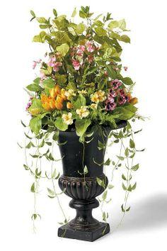 Urn Decorations For Spring Enchanting Wall Unit Greenery Decor  Ivy Brushed Metal Ledge Silk Plant Design Decoration