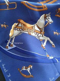 FleaingFrance Brocante Society Vintage Hermes Scarf -  Raconte-Moi le Cheval Design